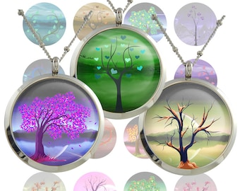 Life Tree  Digital Collage Sheet  1inch/1.25inch/1.5inch  size Circle Images Printable Download for pendants bottlecaps magnets