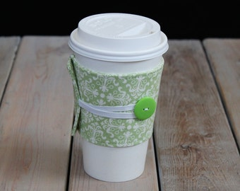 Coffee Cozy in Sweet Green & White with green button