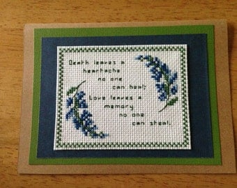 Handmade sympathy cross stitch  card