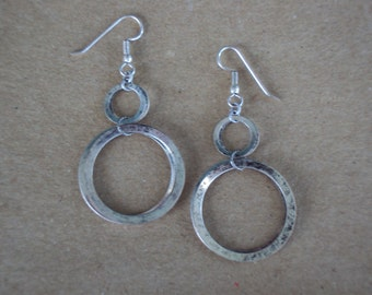 Antique Silver Circle Dangle Earrings