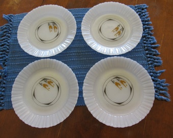 Fire King Southwestern Design Termocrisa Mexican Milk Glass Plates
