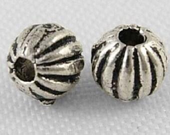 50 x 4mm Tibetan Silver Spacer Beads Round Stripey - LF NF - Stripes - SP29