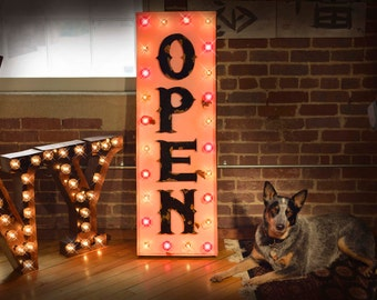 Vintage Style Vertical Marquee Open Sign, Lighted Metal MARQUEE SIGN, Business Marquee, Marquee Light Fixture, Custom Open Sign
