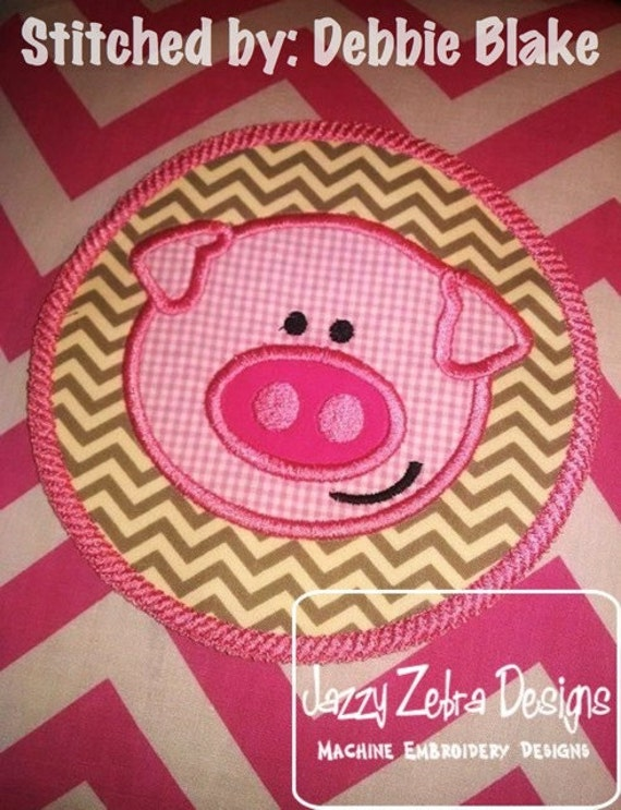 Pig in Circle Rope Applique embroidery Design - pig Applique Design - farm Applique Design
