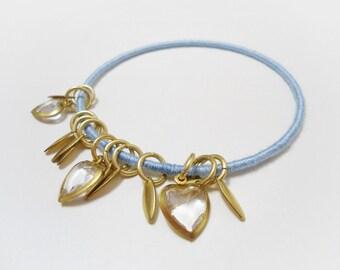 Gold charm bracelet, Gold pendants bangle, Gold heart bracelet