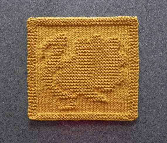 Free Knitting Pattern Turkey Dishcloth : TURKEY Knit Dishcloth . Hand Knitted Unique Design. Gold. 100%