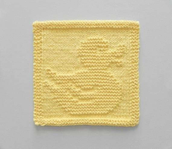Baby Washcloths Knitting Patterns: RUBBER DUCK Baby Wash Cloth Or Knit Dishcloth Nursery Decor