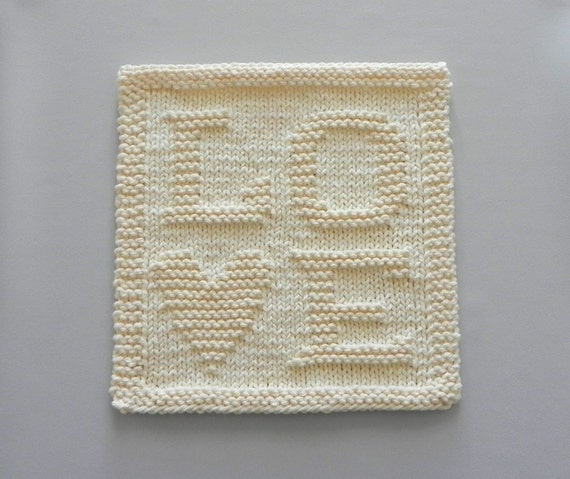Knit Dishcloth LOVE Unique Hand Knitted Design Ivory Cream