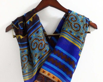 Blue Aztec Scarf, Boho Scarf, Bohemian Infinity Scarf, Boho Pattern Scarf, Tribal Print Scarf, Gift for Her, Mom Gifts, Gift Mom, For Her