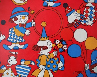 Vintage Clowns Wrapping Paper - Groovy 1970's Wrapping Paper - Vintage Clown Gift Wrap - Clowns Circus Vintage Gift Wrapping Paper - Clowns