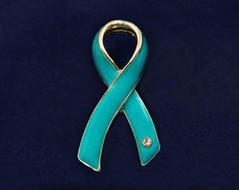 Large Teal Ribbon Pin (RE-P-04-3)