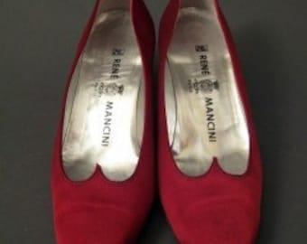 Vintage RENE MANCINI Sweetheart Red Satin Shoes Size 10 40