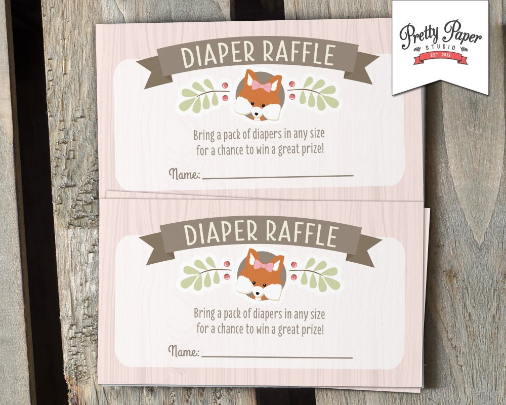 diaper raffle cards woodland baby shower instant download