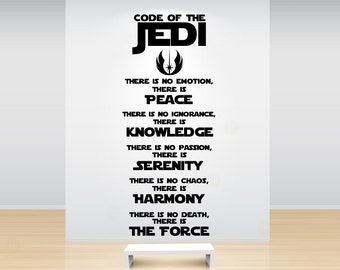 Star Wars Code of the Jedi Knight Removable Vinyl Wall Quote Decal Sticker