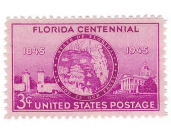 1944 3c Florida Statehood - 10 Unused US Postage Stamps - No. 927