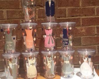 Set of 11 -16oz Personalized Wedding Tumbler