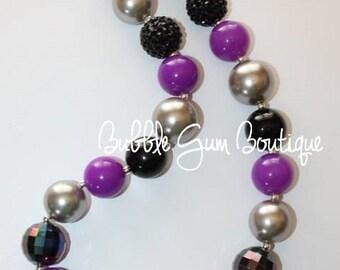Bubble Gum Bead Necklace- Black, Purple and Silver