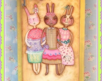 Best Bunny Friends - Painted by Martha Smalley,  Painting With Friends E Pattern
