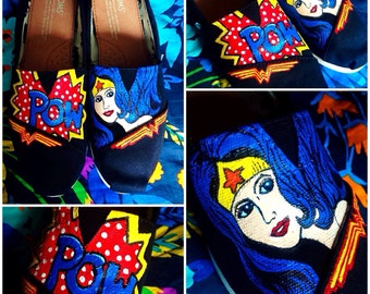 Custom painted Wonder Woman Toms. Designed and personalized just for you!