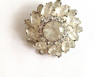 Vintage White Frosted Rhinestone Brooch