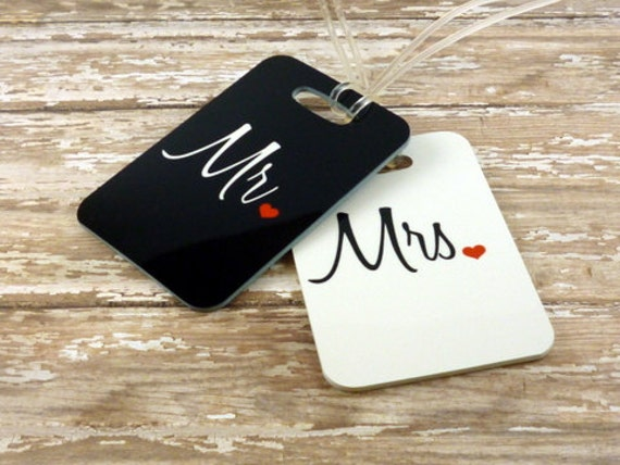 Personalized Luggage Tags Wedding Gift: Personalized Set Of Mr. And Mrs. Luggage Tags Double Sided