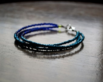 Stackable Beaded Bracelet - dark blue and turquoise