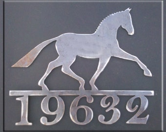 Dressage Horse Metal Art with House Numbers