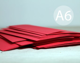 "25 Bright Holiday Red Envelopes - A6 red envelope - 4x6 envelope (true size 4 3/4"" x 6 1/2"") - Christmas Card Envelopes"