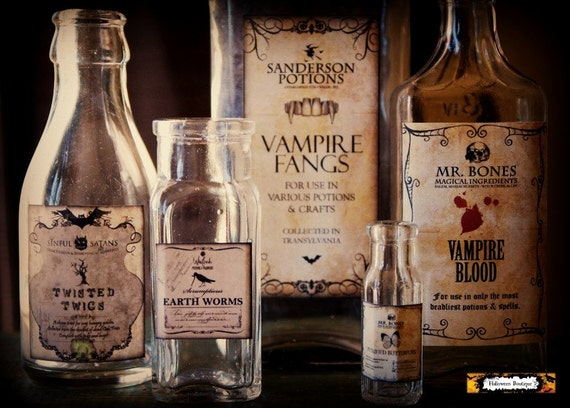 5 halloween potion bottles halloween by halloweenboutique