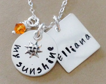 my sunshine -  Hand Stamped Mommy Jewelry - Personalized Jewelry - Sterling Silver Necklace -