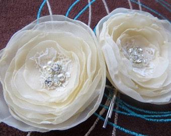Wedding bridal hair accessory(2 pcs) bridal hair fascinator, vintage rustic wedding, double hair clip, wedding flower, READY TO SHIP