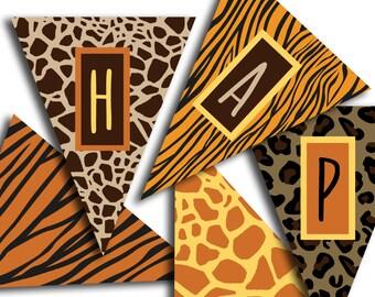 Safari Birthday Banner, Happy Birthday Banner, Jungle Birthday Banner, Safari Birthday Party, Animal Print INSTANT DOWNLOAD Printable Banner
