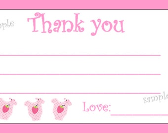 Printable Baby Girl Thank you Cards 4 x 6 DIY