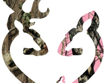 "6""  Browning style camo and pink camo heart shaped with 1 baby doe decal sticker deer buck"