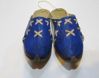 Genuine Leather  HandMade  Organic Turkish Yemeni Slippers blue. Number feet from 34 to 45