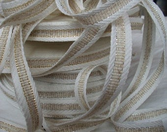 Glitz Linen flax White Natural ribbon trim tape braid 5/8 inch width ECO-friendly - sold by the 3 yard