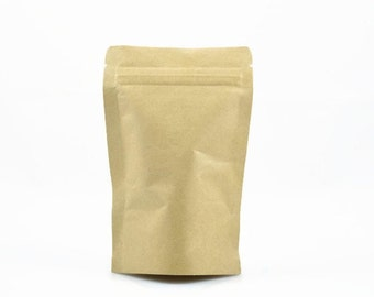 KRAFT PAPER BAGS (Set of 5 Bags) - Small Kraft ZipLock Stand Up Coffee Bags With Silver Foil Interior  (14cm x 9cm)