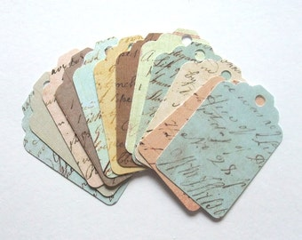 Shabby Chic Script Tags, Pastel Colors,  Vintage Inspired, Set of 12