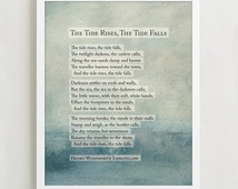 Henry Wadsworth Longfellow The Tide Rises Poetry Art Print - Typographic Print - Wall Decor