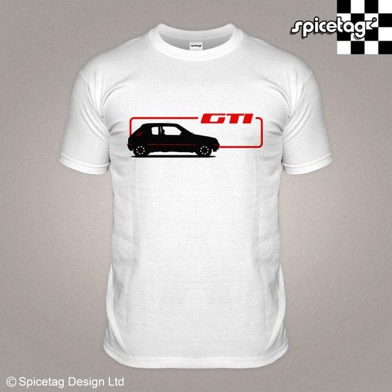 205 1 9 gti t shirt retro 80s hot hatch rally car tshirt white. Black Bedroom Furniture Sets. Home Design Ideas