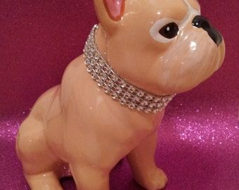 """French Bulldog, statue ceramic """"Kloe"""", hand-painted by Laure Terrier, 6.7 inches / 17 cm"""
