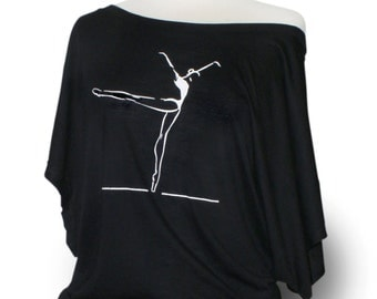 "Ballet leotard coverup.  ""Piqué to Arabesque"" - Black. Short sleeve dancewear for class, performance, or rehearsal."