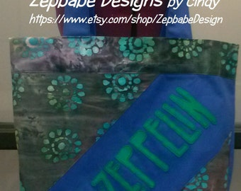 Led Zeppelin Blue Tote Bag