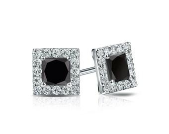 14k Gold Halo Princess-Cut Black Diamond Stud Earrings 1.00 ct. tw.