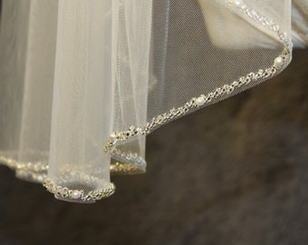 1T Beaded Veil Minimalist New Design High Quality Bridal Crystal Wedding