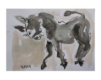 Donkey  - Original Drawing with colored Ink and Bambu-Stick - free shiping black-white 11,81 x 8,27 inch