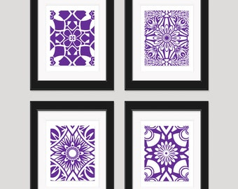 Purple wall art art prints modern art set of 4 8x10 for Purple dining room wall art