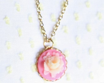 Girl's Flower Cameo Necklace, Flower Necklace, Cameo Necklace, Rose Cameo Necklace, Yellow Rose Necklace