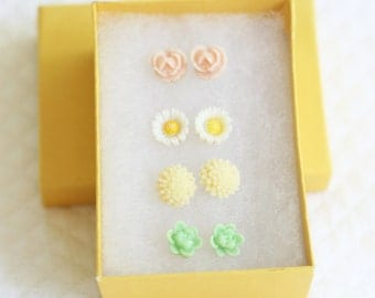 Girl's Earring Set, Pastel Flower Earrings, Resin Flower Earrings, Cabochon Earrings