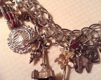 Vintage Sterling Silver Loaded Charm Bracelet